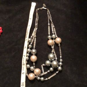 """VINTAGE NECKLACE 10"""" long on SILVER AND PEARl"""